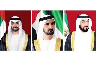 الصورة: الصورة: رئيس الدولة ونائبه ومحمد بن زايد يهنئون ماكرون بلقب المونديال