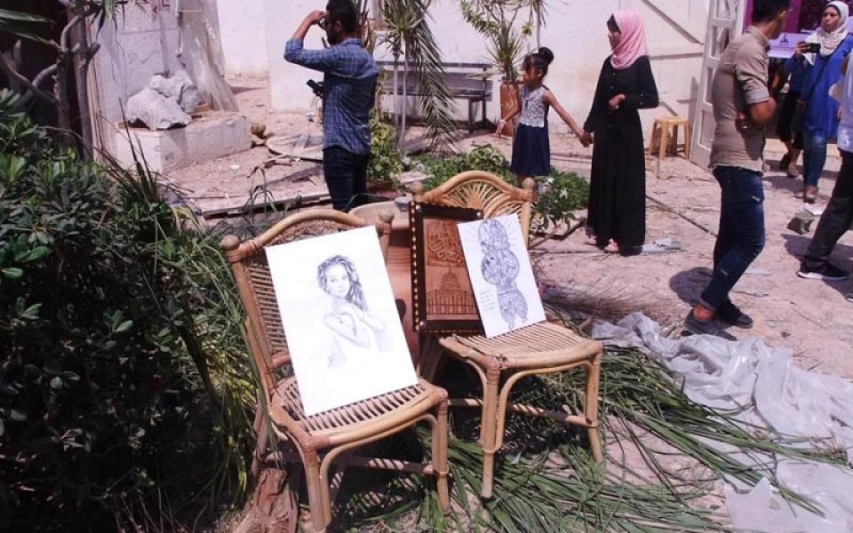 الصورة: للفن نصيب من القصف الإسرائيلي في غزة