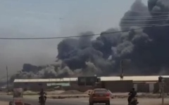 """الصورة: انفجار ضخم يهز مقر """"الحشد الشعبي"""" بكربلاء"""