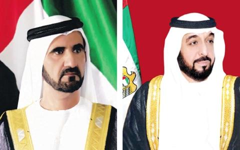 الصورة: رئيس الدولة ونائبه ومحمد بن زايد يهنئون رئيسي الجابون وإندونيسيا