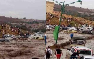 الصورة: بالفيديو.. مدينة جزائرية تغرق بسبب ساعة أمطار