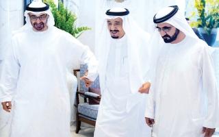 الصورة: الإمارات تزدان بالأخضر احتفالاً باليوم الوطني السعودي
