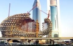 الصورة: الحرف العربي يلمع في واجهة متحف المستقبل