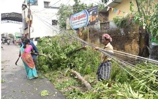 الصورة: مقتل 11 شخصاً مع وصول الإعصار جاجا لجنوب الهند