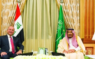 الصورة: خادم الحرمين ورئيس العراق يؤكدان  دعم استقرار المنطقة
