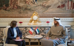 الصورة: محمد بن زايد ووزيرة القوات المسلحة الفرنسية يبحثان تطوير التعاون العسكري المشترك