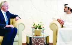 الصورة: مكتوم بن محمد يبحث وعمدة حي المال بلندن تبادل الخبرات في تكنولوجيا الابتكـار المالي