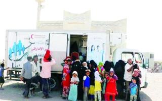 الصورة: 18 ألف يمني استفادوا من عيادات «الهلال» المتنقلة