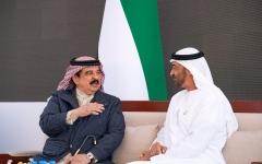 الصورة: محمد بن زايد يستقبل ملك البحرين