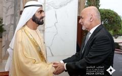 الصورة: محمد بن راشد يستقبل الرئيس الأفغاني