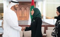 الصورة: محمد بن زايد يستقبل رئيسة مجلس النواب في مملكة البحرين