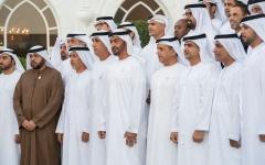 """الصورة: الصورة: محمد بن زايد يستقبل وفد البنوك والمصارف المشاركة في  """"صندوق معالجة الديون المتعثرة"""""""