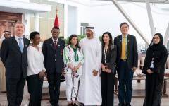 الصورة: الصورة: محمد بن زايد يستقبل مجلس إدارة مؤسسة الأولمبياد الخاص العالمية