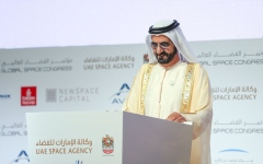 الصورة: الصورة: محمد بن راشد يعلن عن تأسيس أول مجموعة عربية للتعاون الفضائي