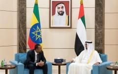 الصورة: الصورة: محمد بن زايد ورئيس وزراء إثيوبيا يبحثان العلاقات بين البلدين