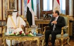 الصورة: الصورة: محمد بن زايد يبحث مع الرئيس المصري العلاقات الأخوية وقضايا إقليمية ودولية