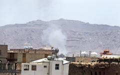 الصورة: الصورة: التحالف يقصف مخازن «باليستي» الحوثي