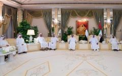 الصورة: الصورة: رئيس الدولة يتقبل التهاني من حكام الإمارات وأولياء العهود ونواب الحكام بشهر رمضان