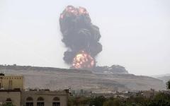 """الصورة: الصورة: """"قيادة القوات المشتركة للتحالف""""تعلن تنفيذ غارات على قواعد ومنشآت عسكرية لميلشيا الحوثي"""