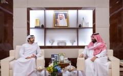 الصورة: الصورة: ولي العهد السعودي يلتقي حمدان بن محمد في جدة