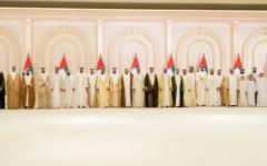 الصورة: الصورة: محمد بن راشد يتقبل تهاني محمد بن زايد وحكام الإمارات والشيوخ بزفاف أنجاله