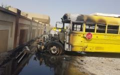 الصورة: الصورة: تفاصيل احتراق حافلة مدرسية في رأس الخيمة