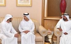 الصورة: الصورة: ولي عهد دبي يتقبل تعازي هزاع وسيف وذياب بن زايد في وفاة منصور بن أحمد بن علي آل ثاني