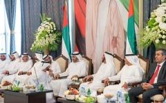 الصورة: الصورة: محمد بن زايد يحضر حفل استقبال أقامه سلطان علي الخاطري بمناسبة زفاف نجله