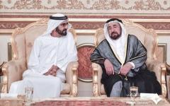 الصورة: الصورة: محمد بن راشد يعزي حاكم الشارقة بوفاة نجله الشيخ خالد القاسمي