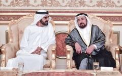 الصورة: الصورة: محمد بن راشد يعزي حاكم الشارقة في وفاة خالد القاسمي