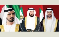 الصورة: الصورة: رئيس الدولة ونائبه ومحمد بن زايد يهنئون رئيس وزراء بريطانيا