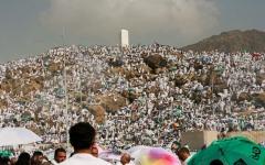 الصورة: الصورة: جبل الرحمة ..هنا ألقى الرسول خطبة الوداع
