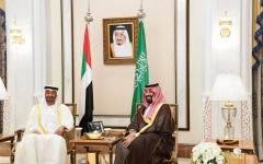 الصورة: الصورة: محمد بن زايد يلتقي محمد بن سلمان ويبحث معه تعزيز العلاقات الاستراتيجية