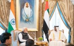 الصورة: الصورة: محمد بن زايد ورئيس وزراء الهند يبحثان علاقات البلدين