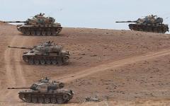 """الصورة: الصورة: تسيير أول دورية عسكرية أمريكية تركية في """"المنطقة الآمنة"""" في سوريا"""