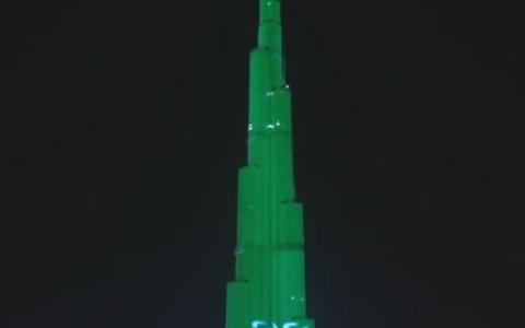 """الصورة: الصورة: برج خليفة يفاجئ السعوديين بـ """"قهوتك علينا"""""""