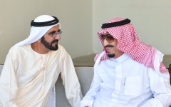 الصورة: الصورة: محمد بن راشد يهنئ خادم الحرمين الشريفين باليوم الوطني الـ 89 للمملكة