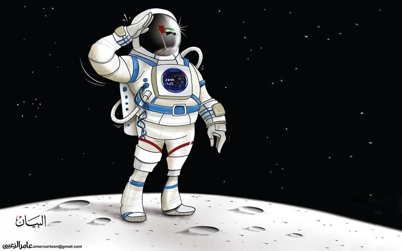 الصورة: الصورة: «طموح زايد» في معانقة الفضاء