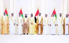 الصورة: الصورة: محمد بن راشد والحكام يحضرون أفراح آل نهيان وآل مكتوم
