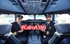 الصورة: الصورة: طائرة الإمارات العملاقة تصل القاهرة