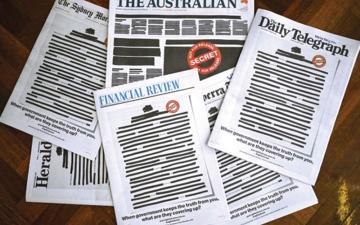 الصورة: الصورة: الصحف الأسترالية تعتّم صفحاتها الأولى اعتراضاً على سرية الحكومة