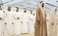 الصورة: الصورة: محمد بن زايد والحكام يشيعون فقيد الوطن سلطان بن زايد
