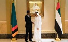 الصورة: الصورة: محمد بن زايد يستقبل رئيس زامبيا