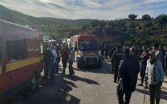 الصورة: الصورة: فيديو .. وفاة 24 شخصاً بحادث انقلاب حافلة في تونس