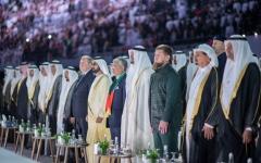الصورة: الصورة: محمد بن راشد ومحمد بن زايد والحكام يشهدون الاحتفال باليوم الوطني الـ48