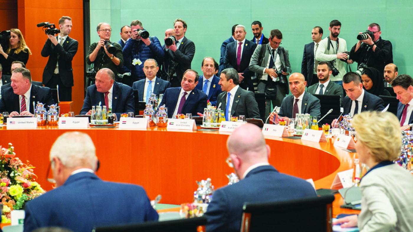 الصورة : عبدالله بن زايد خلال مشاركته في مؤتمر برلين حول ليبيا     وام