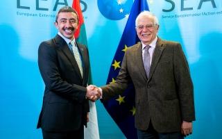 الصورة: الصورة: عبدالله بن زايد يلتقي الممثل السامي للاتحاد الأوروبي في بروكسل