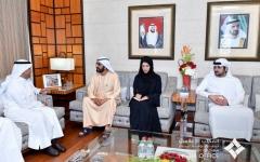الصورة: الصورة: محمد بن راشد يستقبل أمين عام مجلس التعاون الخليجي