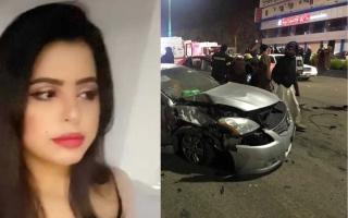 الصورة: الصورة: فنانة سعودية تنجو من حادث مروري خطير كاد يودي بحياتها
