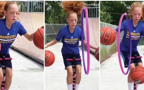 الصورة: الصورة: فتاة تؤدي خدعاً ومراوغات مذهلة بكرة السلة